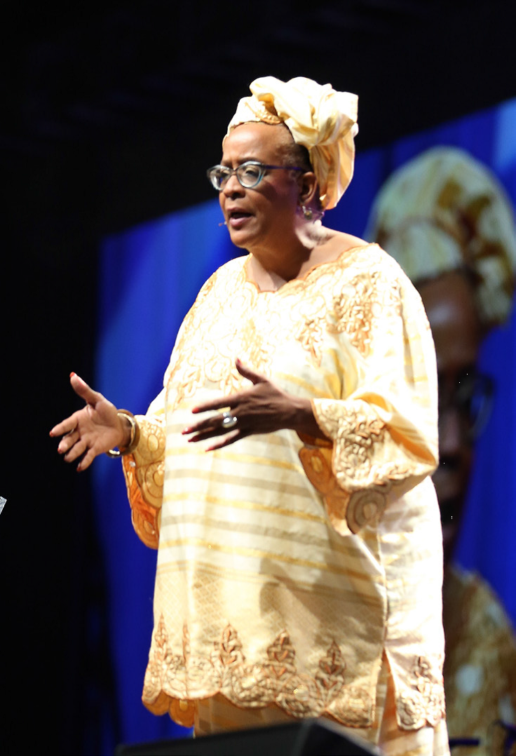 Michelle Armster addresses youth and adult during combined worship, Tuesday, June 30, 2015, Kansas City, Missouri.