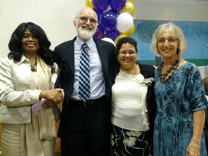 Sandra Pérez (second from right) with (l. to r.) Addie Banks, Dave Wenger and Ruth Wenger at Hyacinth Stevens' ordination in 2011. (Photo provided)