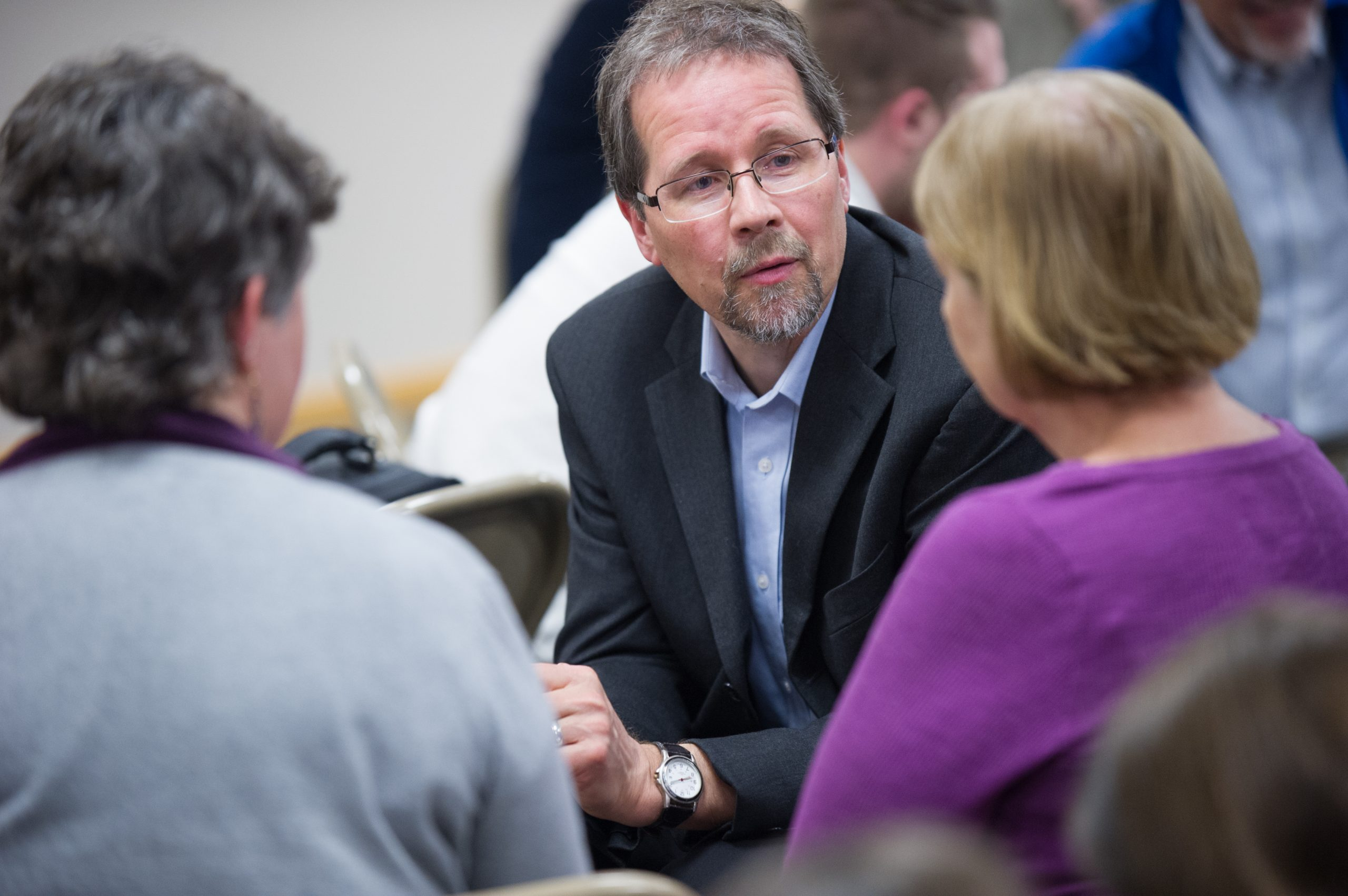 John D. Roth, professor of history at Goshen College, was one of the speakers at an event held April 11 at North Goshen (Ind.) Mennonite Church and sponsored by Mennonite Church USA's Interchurch Relations Reference Group. (Photo by Jason Bryant)