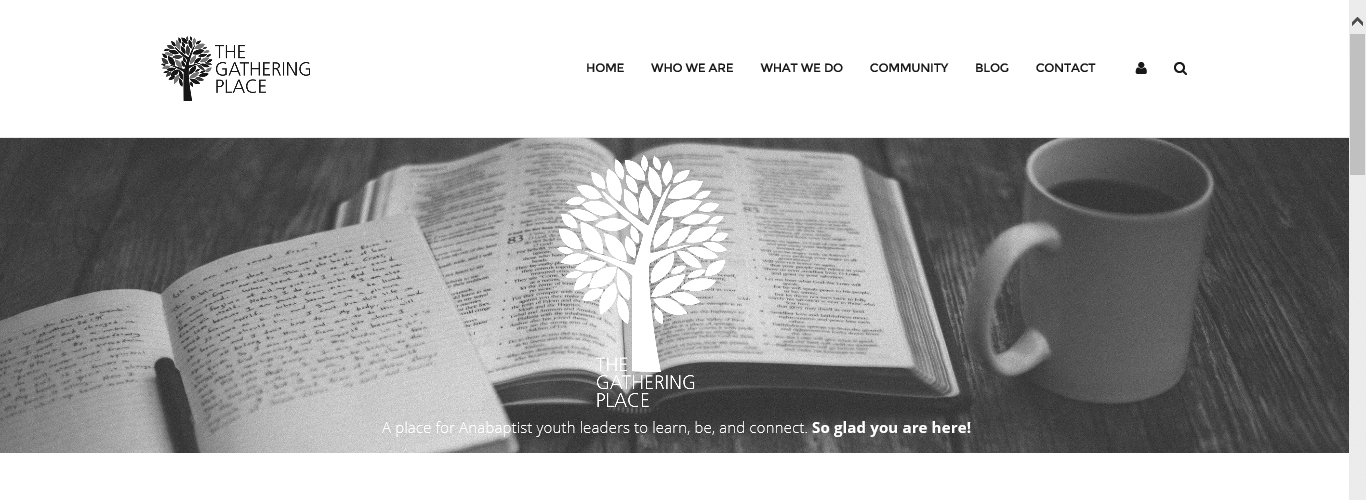 Screen capture of the home page of the new website for youth workers, The Gathering Place.