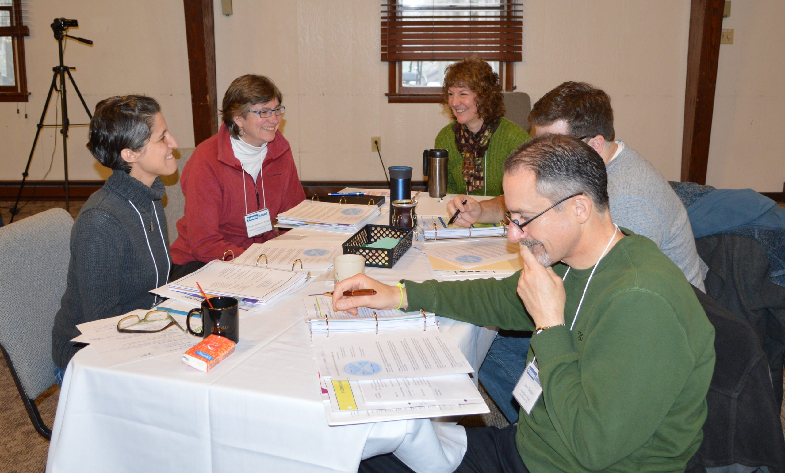 Participants in the Values-based Leadership Program discuss a presentation given during their February meeting. (Laurelville Mennonite Church Center photo)