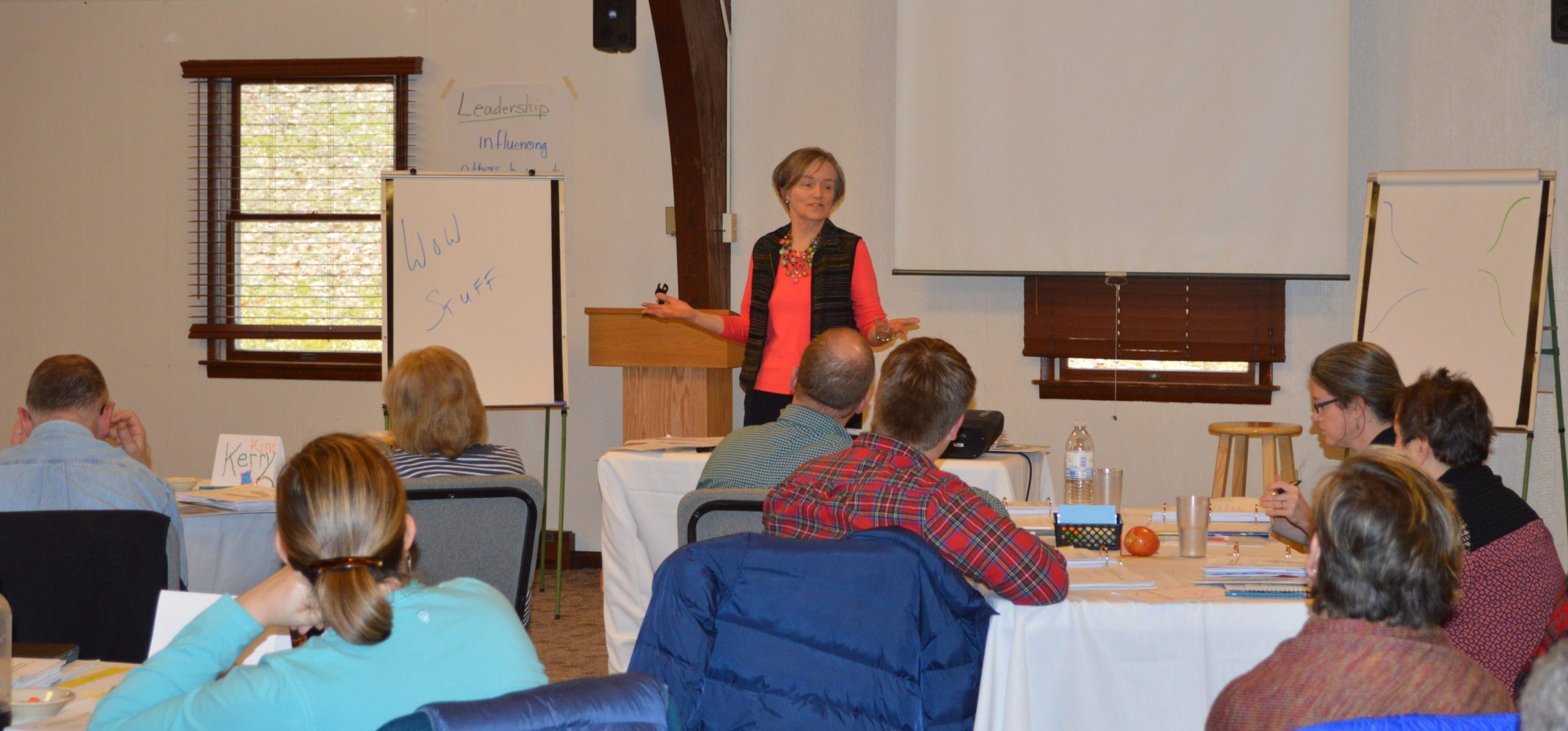 Lee Schmucker of Schmucker Training & Consulting, a member of the resource team for the Values-based Leadership Program, shares with VBLP participants at their February meeting. (Laurelville Mennonite Church Center photo)