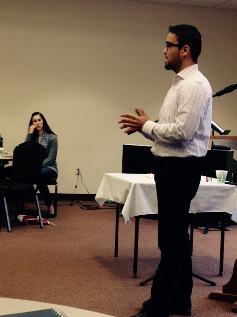Felipe Hinojosa, assistant professor of history at Texas A&M University in College Station, Texas, presents at the Youth Ministry Council 2015 gathering at Spruce Lake Retreat Center in Canadensis, Pennsylvania, April 19-22. (Photo by Rachel Springer Gerber)
