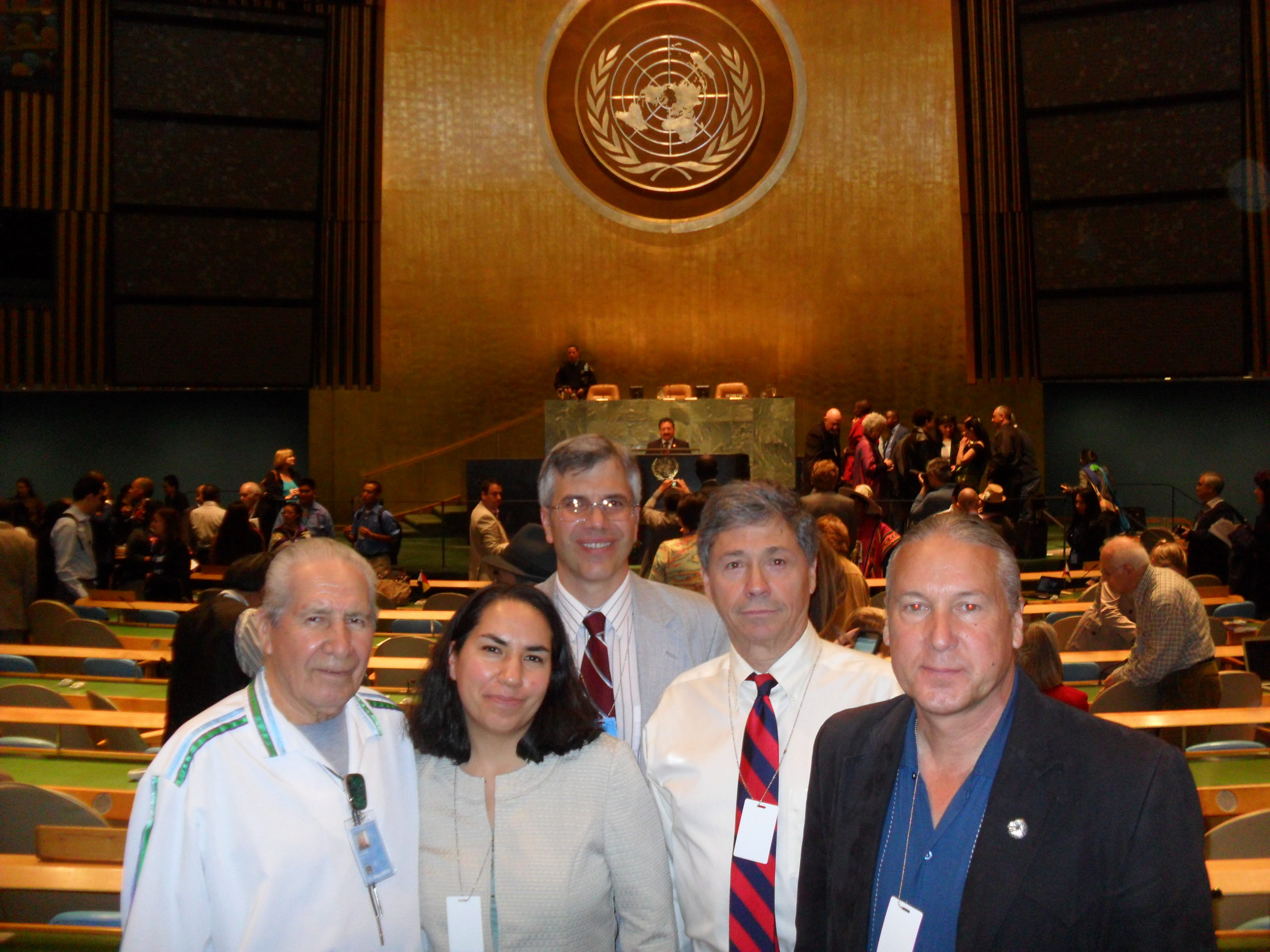 Bob Miller, John Diffenbacher-Krall, Steve Newcomb, and Chief Oren Lyons at the United Nations.